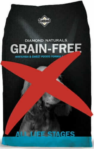 A Grain Free Dog Food Crossed Out